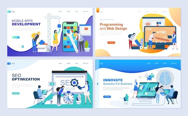 Set di modelli di pagine di destinazione per lo sviluppo web, seo, applicazioni mobili, soluzioni aziendali.