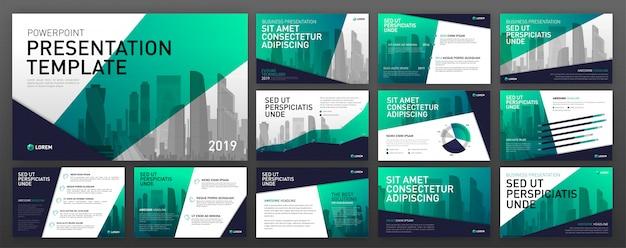 Set di modelli di powerpoint presentazione aziendale