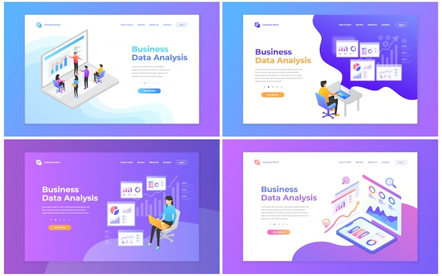 Set di modelli di progettazione di pagine web per analisi dei dati, marketing digitale, lavoro di squadra, strategia aziendale e analisi.