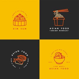 Set di modelli di progettazione logo ed emblemi o stemmi. cibo asiatico - tagliatelle, dim sum, zuppa, sushi. loghi lineari, dorati e rossi