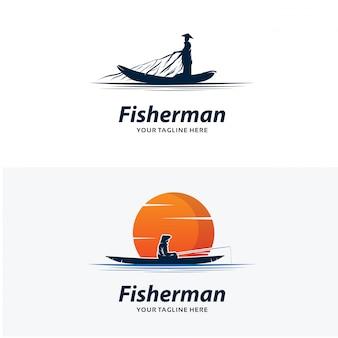 Set di modelli di progettazione logo pescatore