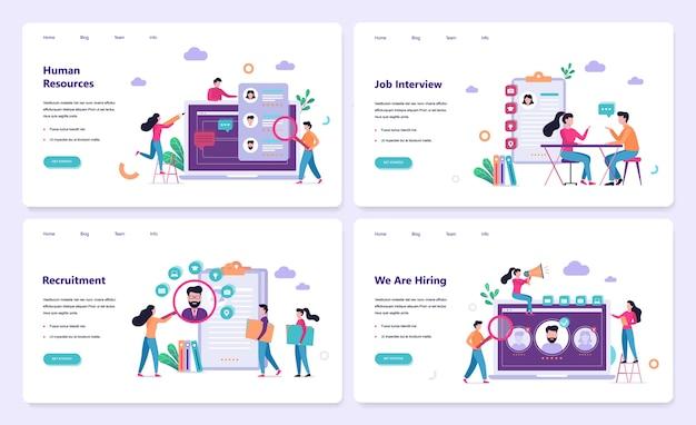 Set di modelli di sito web di reclutamento. colloquio di lavoro