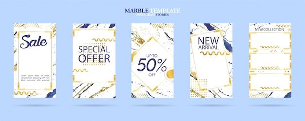 Set di modelli di storie sociali social pack con texture di marmo alla moda di lusso