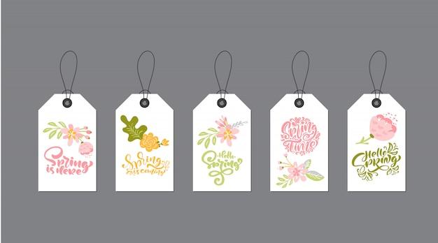Set di modelli di tag creativo carino con disegno a tema floreale e calligrafia testo primavera letterign