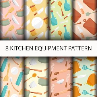 Set di modelli di utensili da cucina senza soluzione di continuità.