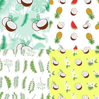 Set di modelli estivi senza soluzione di continuità. sfondi con foglie di palma, frutta, fiori e noci di cocco. illustrazione vettoriale. facile da usare per sfondo, tessuto, carta da imballaggio, poster a parete.