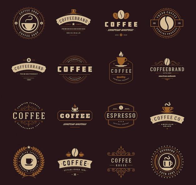 Set di modelli logo caffetteria