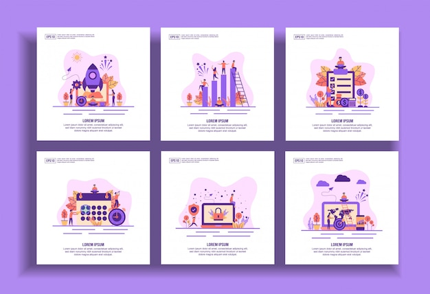 Set di modelli moderni design piatto per affari, avvio, lavoro di squadra, stipendio, pianificazione, sicurezza, obiettivo