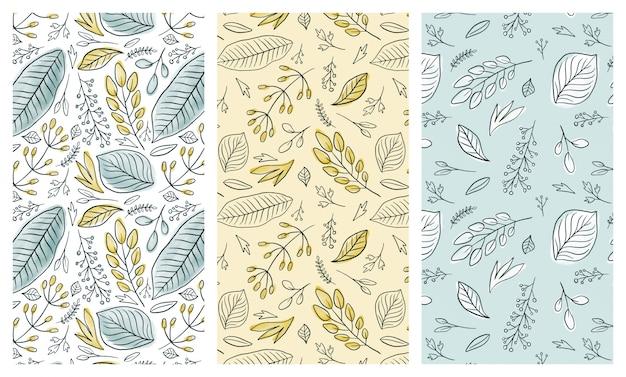 Set di modelli senza cuciture foglie d'inchiostro acquerello