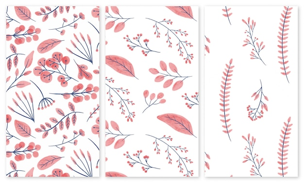 Set di modelli senza soluzione di continuità di fiori e piante acquerelli