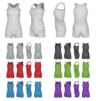 Set di modelli sport top e shorts in bianco