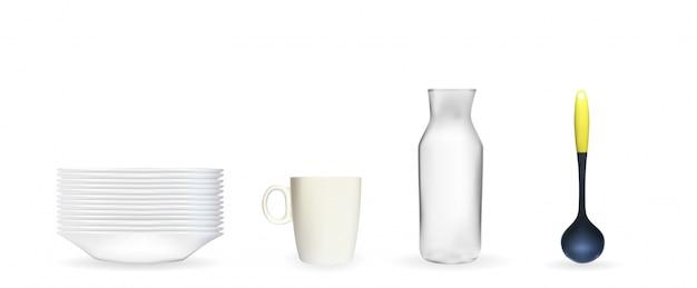 Set di modello 3d realistico di un piatto bianco profondo, mestolo, vaso di vetro, tazza