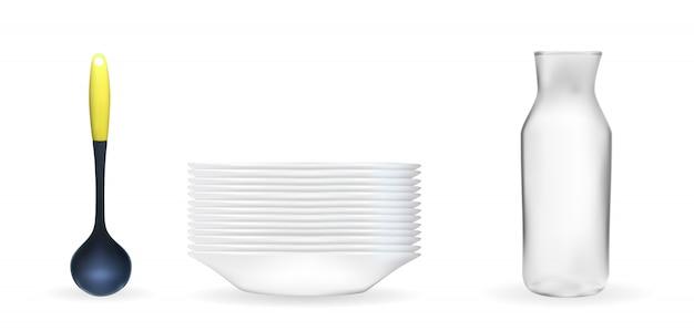 Set di modello 3d realistico di un piatto bianco profondo, mestolo, vaso di vetro