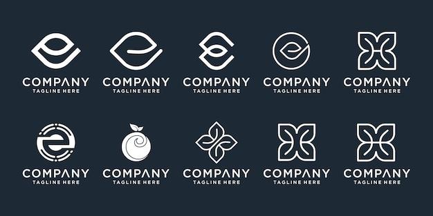 Set di modello astratto logo iniziale lettera e e h. icone per affari di lusso, natura, spa, semplici.