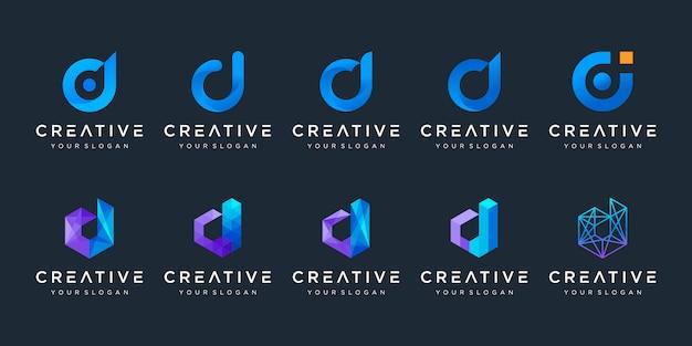 Set di modello creativo di progettazione di logo della lettera d. logotipi per affari di tecnologia, digitali, semplici.