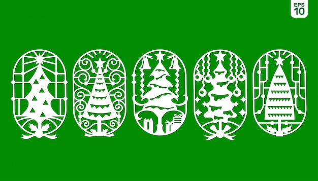 Set di modello di albero di natale per taglio laser e plotter.