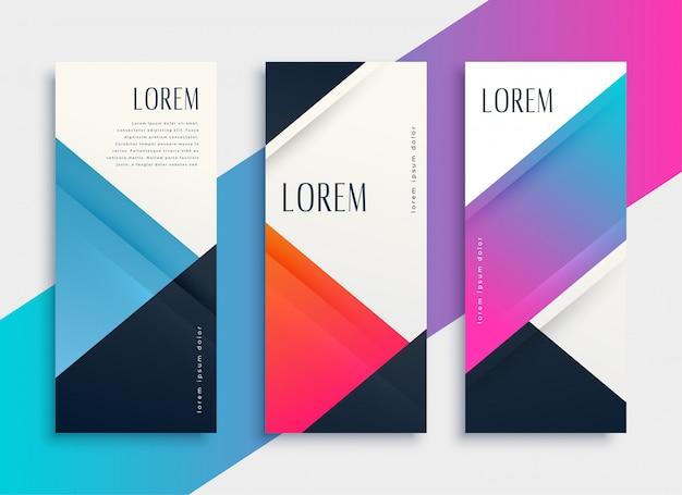 Set di modello di bandiera geometrica stile aziendale