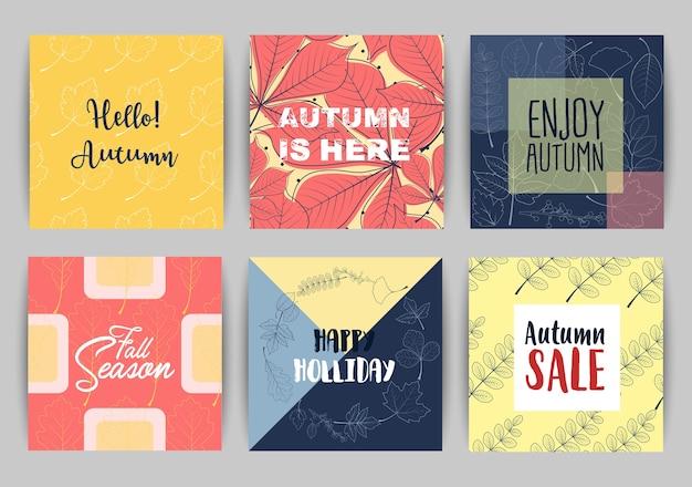 Set di modello di banner autunno vendita con lettering