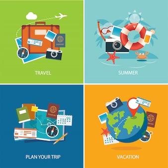 Set di modello di banner design piatto estivo e viaggi