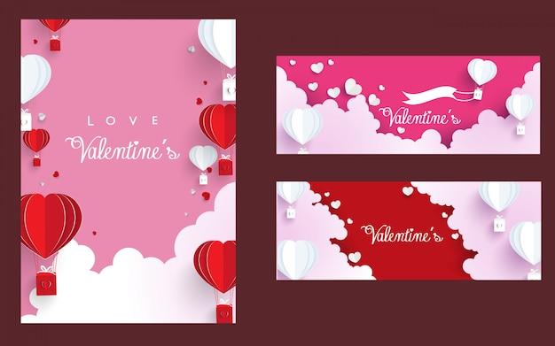 Set di modello di banner di san valentino