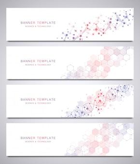 Set di modello di banner di vettore scientifico e tecnologico con strutture molecolari.