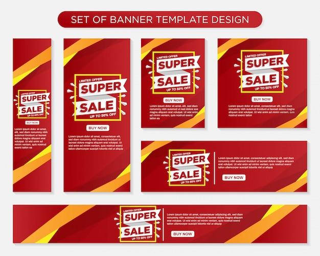 Set di modello di banner moderno di promozione