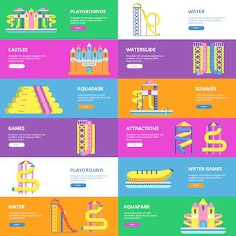 Set di modello di banner orizzontale con immagini di strumenti per parco acquatico e parco giochi per bambini