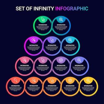 Set di modello di business infografica con icone e numeri 2 3 4 5 opzioni o passaggi