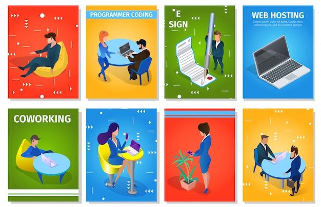 Set di modello di businesspeople in situazioni di lavoro