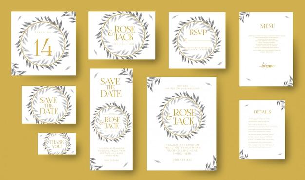 Set di modello di carta di invito di nozze