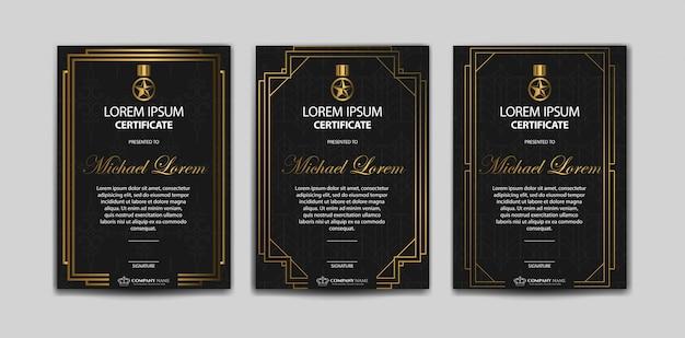 Set di modello di certificato di lusso