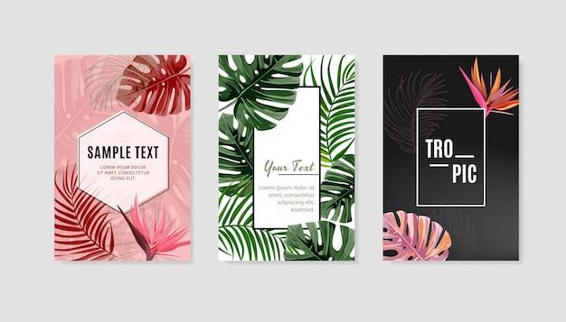 Set di modello di copertina di design tropicale.