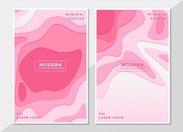 Set di modello di copertina in carta tagliata stile design rosa