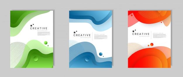 Set di modello di copertina moderna astratta con forme colorate dinamiche e onde