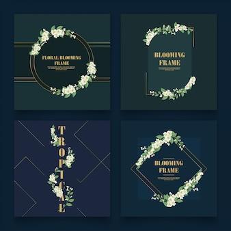 Set di modello di cornice di fiori di gelsomino.