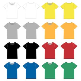 Set di modello di design t-shirt nera unisex.
