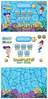Set di modello di gioco con sirene sott'acqua