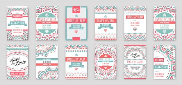 Set di modello di invito matrimonio fantastico design con tema mandala o doodles.