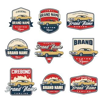 Set di modello di logo di auto d'epoca