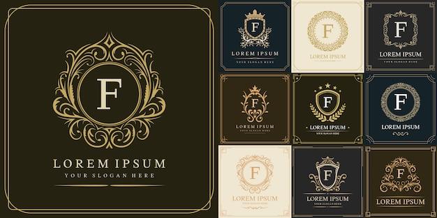 Set di modello di logo di lusso, lettera iniziale tipo f