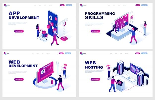 Set di modello di pagina di destinazione isometrica per lo sviluppo di siti web