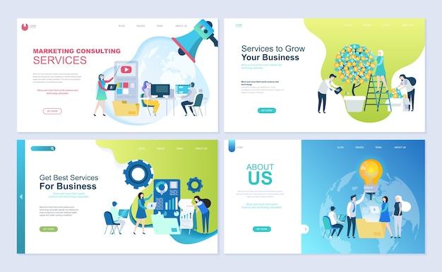Set di modello di pagina di destinazione per affari, consulenza, finanza e marketing.