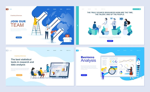 Set di modello di pagina di destinazione per business app, analisi dei dati, carriera, lavoro di squadra.