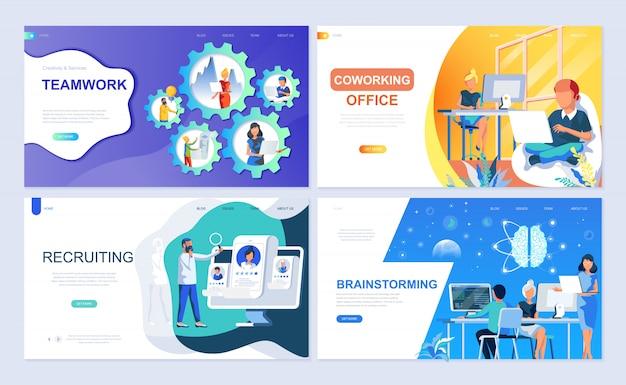 Set di modello di pagina di destinazione per il lavoro di squadra