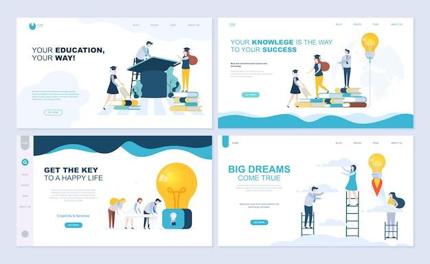 Set di modello di pagina di destinazione per l'educazione del personale, consulenza, università, app di educazione.