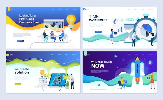 Set di modello di pagina di destinazione per soluzioni aziendali, avvio, gestione del tempo, pianificazione.