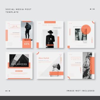 Set di modello di post arancione social media