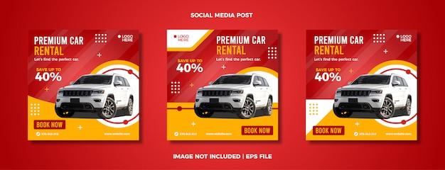 Set di modello di post social media noleggio auto.