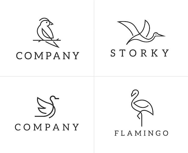 Set di modello di progettazione di logo di uccelli