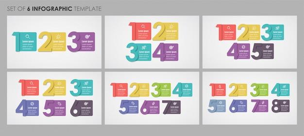 Set di modello di progettazione infografica con 3, 4, 5, 6, 7, 8 opzioni o passaggi. concetto di affari.